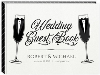 Elegant Black Tie Glass Gay Wedding Guest Book