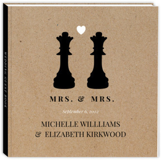 Queen Chess Pieces Gay Wedding Guest Book