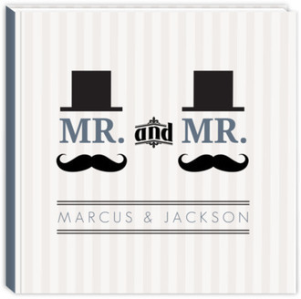 Cream and Blue Mustache Gay Wedding Guest Book