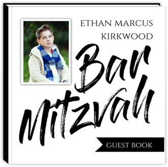 Black & White Typography Bar Mitzvah Guest Book