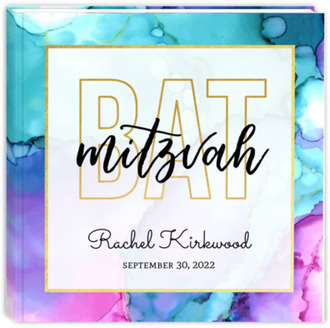 Modern Watercolor Paint Bat Mitzvah Guest Book
