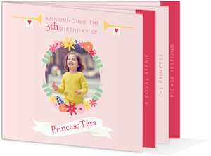 Pink Floral Princess Birthday Invitation