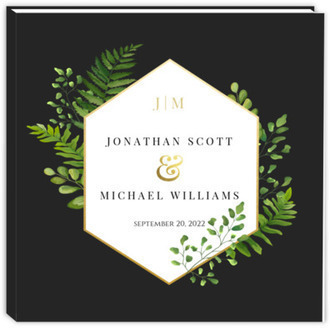 Ferns And Faux Foil Wedding Guest Book