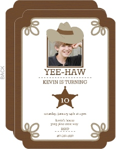 Brown Western Kids Birthday Invitations