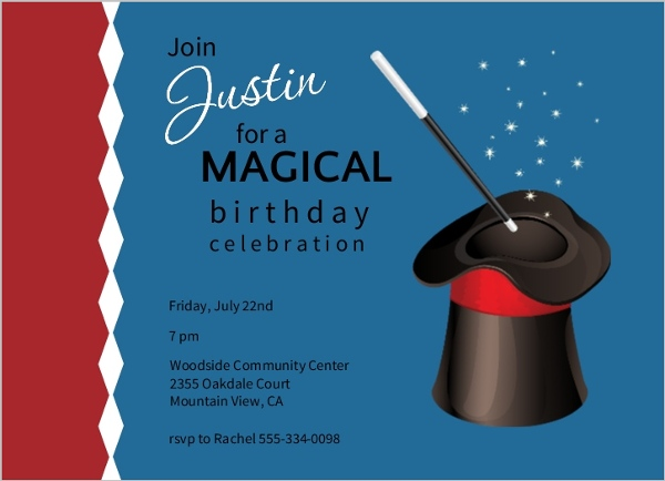 Blue And Red Magic Hat Birthday Invitation Kids Birthday Invitations
