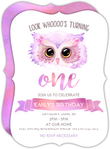Purple Pink Watercolor Owl Birthday Invitation