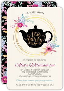Pink and Purple Floral Tea Party Invitation