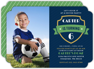 Green Banner Soccer Party Photo Invitation