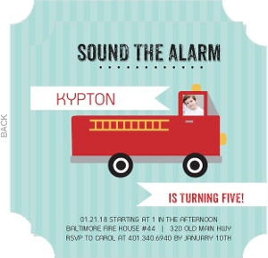 Sound The Alarm Fire Truck Birthday Party Invitation