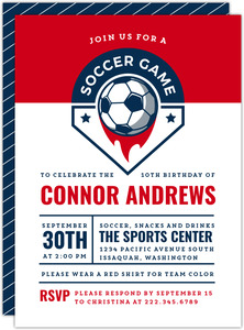 Blue & Red Badge Soccer Birthday Invitation