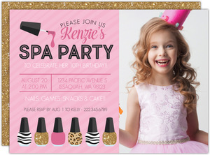 Faux Glitter, Pink & Prints Spa Birthday Invitation