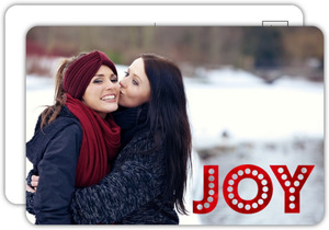 Cute Red Foil Joy Holiday Photo Postcard