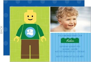 Green Minifigure Kids Birthday Invitation
