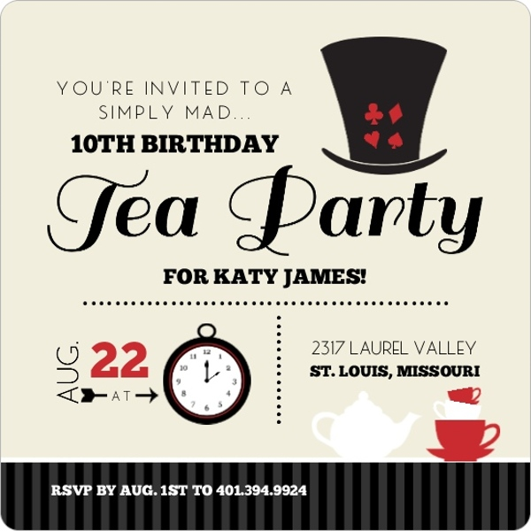 Black And Red Mad Hatter Kids Tea Party Birthday Invitation Tea