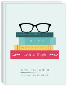 Glasses & Books Sewn Bound Teacher Planner