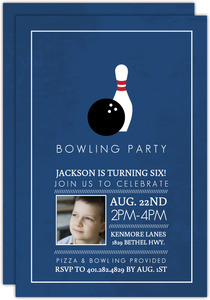 Navy Kids Bowling Birthday Invitation
