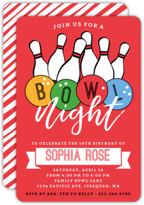Colorful Bowl Night Birthday Party Invitation