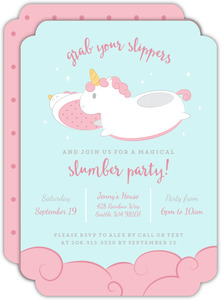Unicorn Slippers Slumber Party Invitation