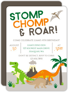 Stomp Chomp Roar Birthday Party Invitation