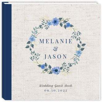Delicate Blue Floral Wreath Wedding Guest Book