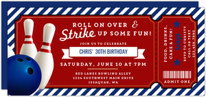 Strike Up Fun Bowling Birthday Invitation