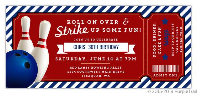 Strike Up Fun Bowling Birthday Invitation