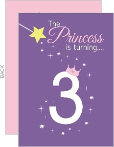 Purple Princess Number And Crown Birthday Invitation