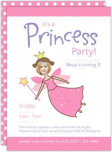 Princess Photo Insert Birthday Party Inviation