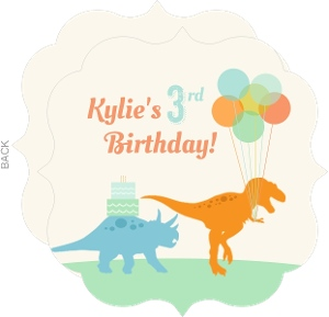 Colorful Dinosaurs And Balloons Kids Birthday Party Invitation