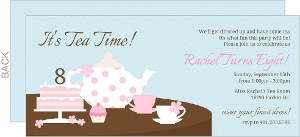 Blue And Pink Girly Tea Party Birthday Invitation
