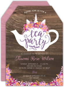 Pink Unicorn Tea Party Birthday Invitation