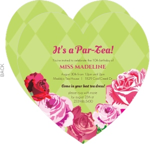 Pink And Green Garden Tea Party Birthday Invitation