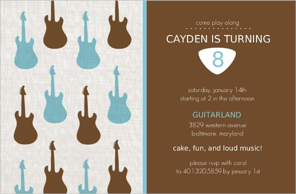 Guitar brown and blue birthday party invitation kids birthday guitar brown and blue birthday party invitation filmwisefo