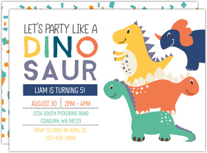 Party Like A Dinosaur Birthday Party Invitation
