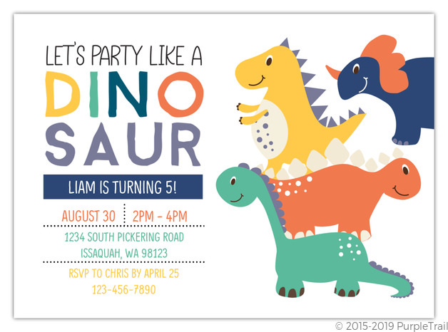 Party Like A Dinosaur Birthday Invitation
