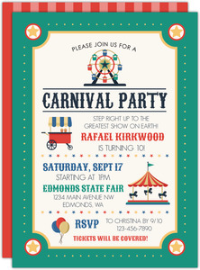 Colorful Ferris Wheel Carnival Kids Birthday Invitation