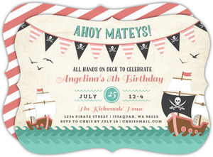 Pink Pirate Banners Kids Birthday Invitation