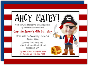 Pirate Face Cut Out Kids Birthday Invitation