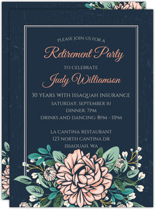 Vintage Pink Peony Retirement Invitation