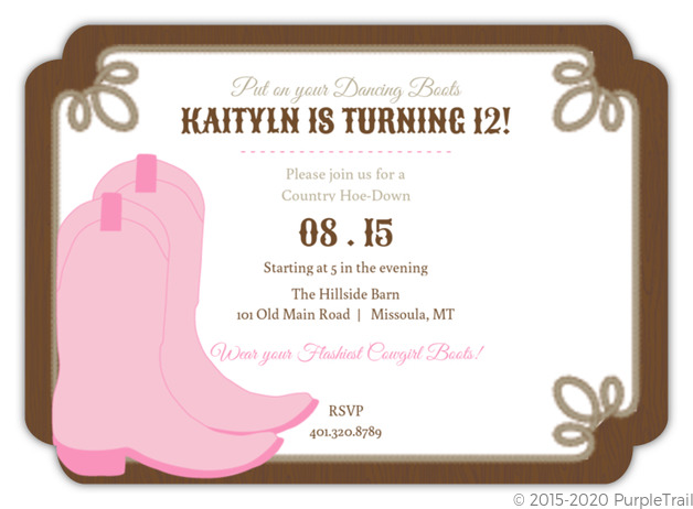Dancing Boots Brown And Pink Birthday Party Invitation