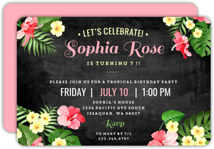 Pink & Green Tropical Floral Birthday Invitation
