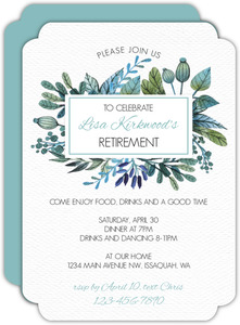 Blue & Green Watercolor Foliage Frame Retirement Invitation