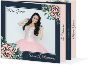 Vintage Pink Peony Quinceanera Booklet Invitation