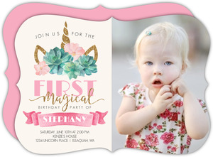 Magical Unicorn First Birthday Invitation