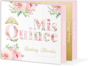 Delicate Pink & Gold Quinceanera Booklet Invitations