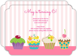 Pink Stripes And Cupcakes Girls Birthday Party Invitations