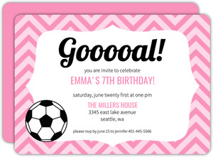 Pink Pattern Girls Soccer Party Invitation