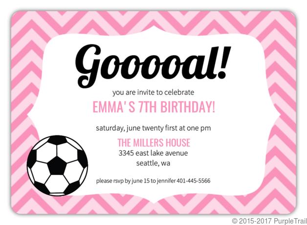 Pink Pattern Girls Soccer Party Invitation Kids Birthday Invitations