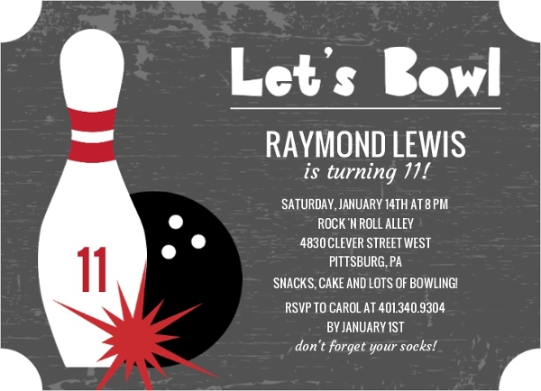 Charcoal Lets Bowl Kids Birthday Invitation