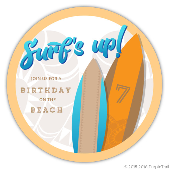 Surfs Up Beach Party Birthday Invitations